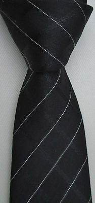 Hudson Room,   black Striped ,great  Quality Silk tie ,Made in Italy