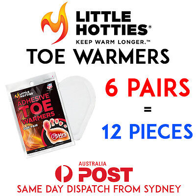 LITTLE HOTTIES 6 Pairs (12 Bags) Pocket Toe Warmers 5 Hours Heat Packs