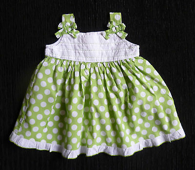 Baby clothes GIRL 0-3m NEXT apple green/white spotted cotton dress SEE SHOP!