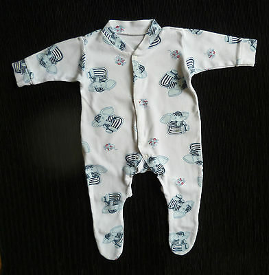 Baby clothes BOY 0-3m Babyland elephant white/blue soft cotton babygrow SEE SHOP