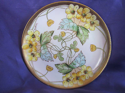 Art Nouveau Haviland Pickard  Hand Painted Plate Signed 6""