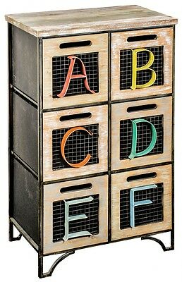 Industrial Shabby Chic Natural Washed Wood Metal Alphabet ABC 6 Drawers Mesh NEW