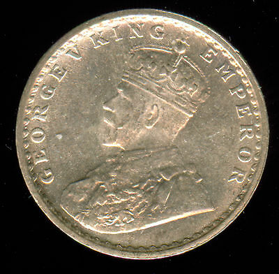 1916 British India Silver 2 Annas Unc.