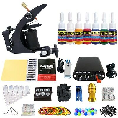 Solong Tattoo Kit de Tatuaje Ametralladora  Poder Aguja Color TK105-1-10