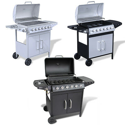 New Stainless Steel Gas Barbecue BBQ Grill 6 + 1 Burners 3 Colours Selectable