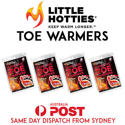 4 Little HOTTIES Pairs 8 Toe Foot Warmers Heat Pack Socks Heater Snow Ski Hand