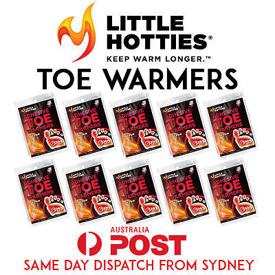 10 Little HOTTIES Pairs 20 Toe Foot Warmers Heat Pack Socks Heater Snow Ski Hand