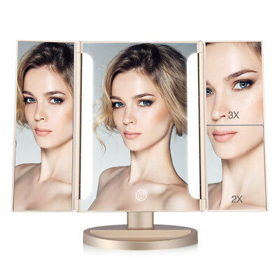 LED Light Makeup Mirror Magnifying Tri-Fold Desk Mirror Touch Button Best Gifts
