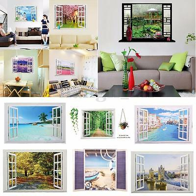 3d vue lac sticker autocollant adh sif mur mural muraux fen tre d coration salon eur 3 99. Black Bedroom Furniture Sets. Home Design Ideas