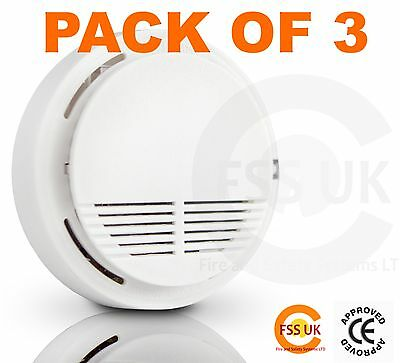 HOME FIRE SAFETY PACK  SMOKE FIRE ALARM DETECTORS x 3. CE MARKED