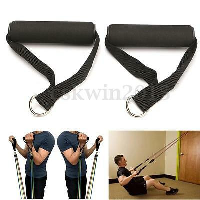 2Pcs Black Single Stirrup Handle Foam Grip With D Ring Cable Attachment Fitness