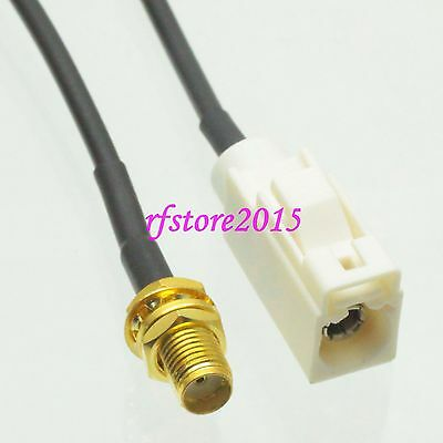 Cable RG174 6inch Fakra SMB B 9001 female to SMA female bulkhead Pigtail Jumper