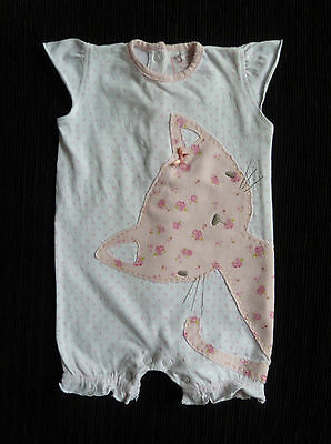 Baby clothes GIRL 0-3m NEXT cat applique white/pink soft cotton romper SEE SHOP!