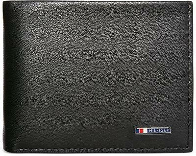 New Tommy Hilfiger Passcase Black Lloyd Leather Billfold Credit Card Men Wallet