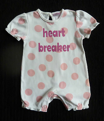 Baby clothes GIRL 0-3m white/pink spotted Cherokee romper SEE SHOP COMBINE POST!