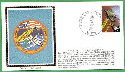 1993 Us Space Cover Space Shuttle Endeavour Sts-57 Colorano Silk Cachet