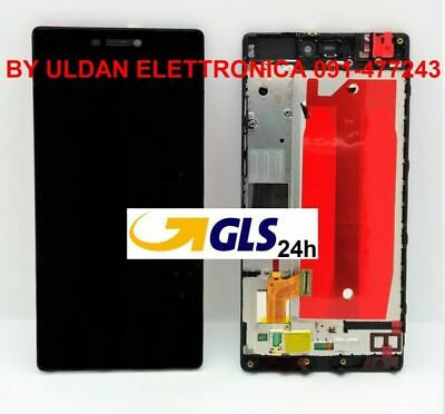 "LCD DISPLAY FRAME Huawei P8 5,2"" GRA-L09 TOUCH SCREEN VETRO SCHERMO NERO"