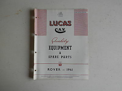 LUCAS Parts List 1961  ROVER 80 100 3 Litre and LAND ROVER