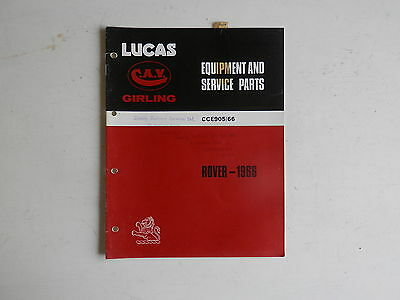 LUCAS Parts List 1966 ROVER and LAND ROVER