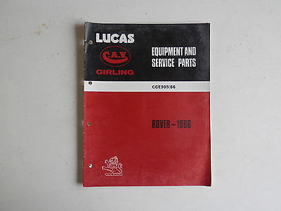 LUCAS Parts List 1966 ROVER and LAND ROVER with supplement