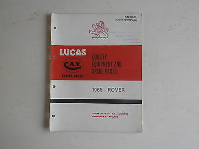LUCAS Parts List 1965  ROVER 3ltr 2000 and LAND ROVER