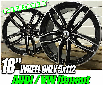 """18"""" RS6 STYLE ALLOY WHEELS no TYRES FITS VW CADDY EOS GOLF MK5 MK6 JETTA T4 BLK"""