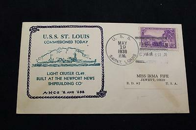 Naval Cover 1939 Ship Cancel Commissioning Uss St Louis (Cl-49) (639)