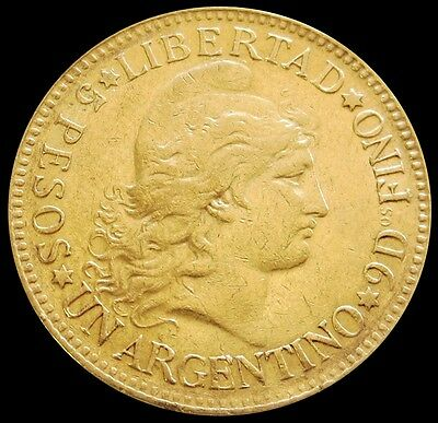 1887 Argentina Gold 5 Pesos (Argentino) Coin Extremely Fine Condition