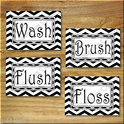 Black and White Chevron Zigzag Print Wall Art Bathroom Bath Decor Floss Flush +
