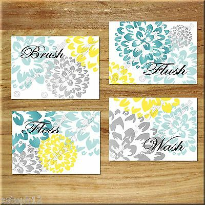 Teal~Aqua~Gray~Yellow Bathroom Wall Art Prints Decor Floral Dahlia BRUSH WASH