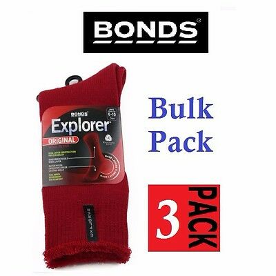 3 Pack Bonds Explorer Original Thick Wool Blend Red Socks Shoes 6-10 Free Post