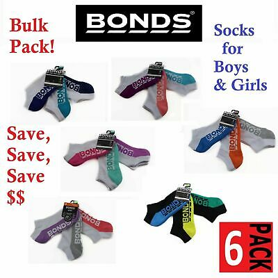 6 PACK BONDS KIDS SOCKS Boys Girls Low Cut  Sports White Blue Green Pink Grey