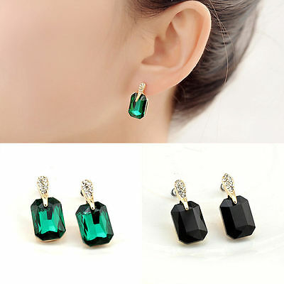 Womens Vintage Elegant Green Square Crystal Ear Stud Earrings Jewelry Gift