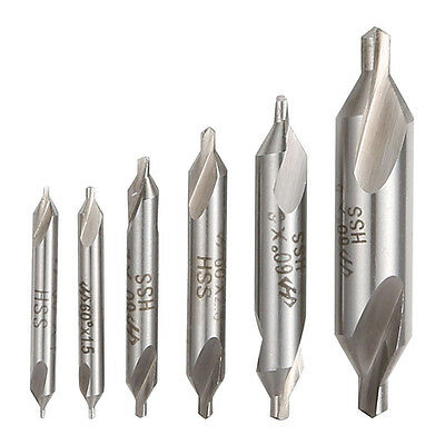 6PCS HSS Combined Center Drills Bit Set Countersinks 60 Degree 5/3/2.5/2/1.5/1mm