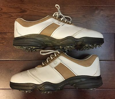 FJ FootJoy DryJoys Women's Golf Shoes with Soft Spikes Size 6.5M White & Brown