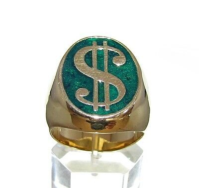 Oval Brass Men's Wall Street Capitalism Ring Dollar Currency Symbol Green 10.5