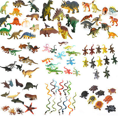 Lot Plastic Zoo Jungle Wild Animals Insects Model Kids Toy Gift Party Bag Filler