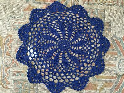 Chic Blue Floral Pattern Hand Crochet Lace Doily Round 25cm