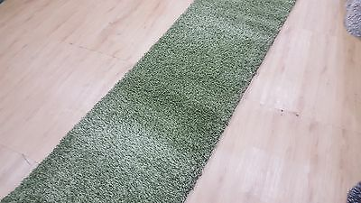 Green Shaggy Hallway Rug, Runner, (80cm Width), Assorted Lengths