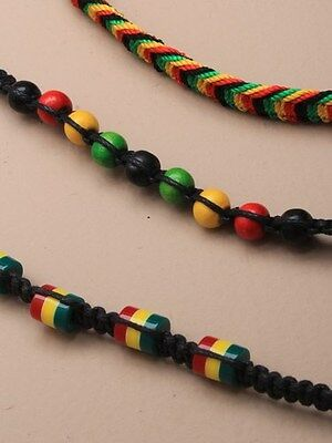 Boys / Mens Rasta Beaded Plaited Cord Bracelet - 3 Designs (J096)