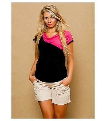 Beige Cotton Elegant Maternity Shorts  Stretchy Belly Belt With Pockets Summer