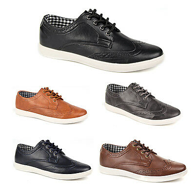 Mens Casual Smart Leather Lace Up Trainers Brogue Shoes Plimsolls 7 8 9 10 11 12