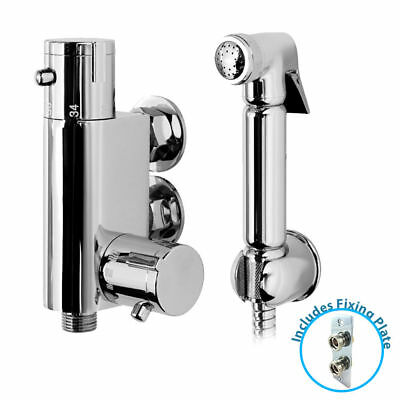 Thermostatic Bidet Douche Shower Spray Kit Chrome Muslim Wall Fixing Back Plate