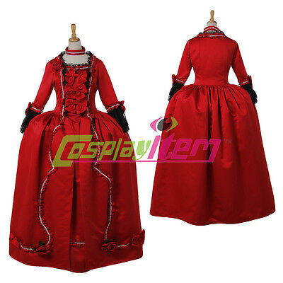 Vintage Red Marie Antoinette Baroque 18th century Rococo Dress Costume