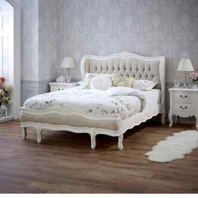 French Chateau White Painted Linen Upholstered 4ft 6in Double Bed - SAN32-W4-L