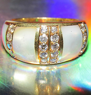 STUNNING SECONDHAND18ct YELLOW GOLD MOTHER OF PEARL & DIAMOND BAND RING SIZE M