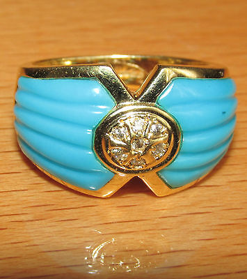 BEAUTIFUL SECONDHAND 18ct YELLOW GOLD TURQUOISE & DIAMOND  RING SIZE L1/2