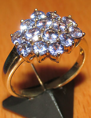 BEAUTIFUL SECONDHAND 9ct YELLOW GOLD TANZANITE  CLUSTER RING SIZE N