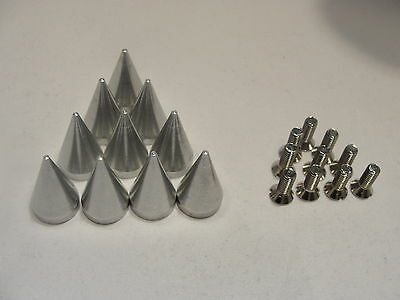 """10 Polished Aluminum 1"""" cone spike screw back 25 mm Tall Spikes Billet Solid USA"""