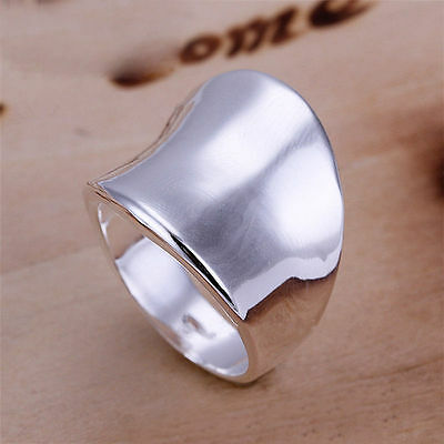 Retro Finger Band Size 8.5 Jewelry Gift Ring Thumb Silver Plated Men Fashion r